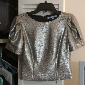 Antonio Melani silver sequin puff sleeve blouse